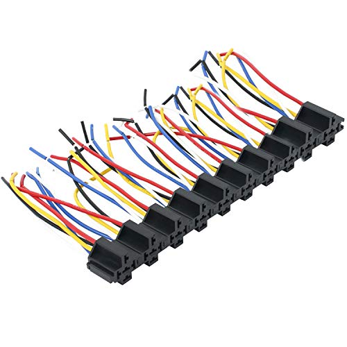 NovelBee 10pcs of 12V 5-Pin Interlocking Relay Socket Harness Base with Wires