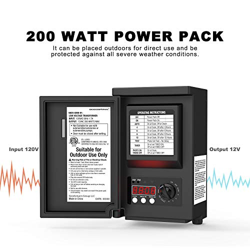 - Goodsmann 200 Watts Low Voltage Transformer with Sensor and Weather Shield 120V Input 12V Output