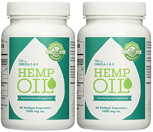 Manitoba Harvest Hemp Foods Hemp Oil Soft Gels, 1000 mg, 60 Count (2 Bottle Pack)
