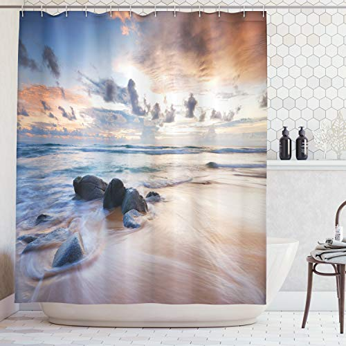 Ambesonne Seaside Decor Collection, Rocky Coastline Last Sunlights of the Day Coloring the Clouds Landscape Picture, Polyester Fabric Bathroom Shower Curtain, 75 Inches Long, Ivory Ecru Grey Blue