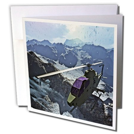 Snowy Air (3dRose Boehm Graphics Aircraft - Cobra Helicopter Flying Over the Snowy Mountains - 6 Greeting Cards with envelopes (gc_253227_1))