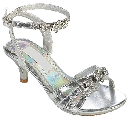 iGirlDress Pageant Heel Girl's Shoe with Rhinestones ( Silver Youth 4 ) (Cinderella Shoes Kids)