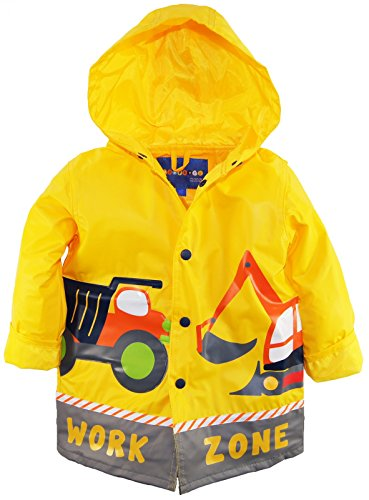 Construction Zone Clothes (Wippette Little Boys Waterproof Work Zone Construction Trucks Raincoat Jacket, Yellow, 2T)