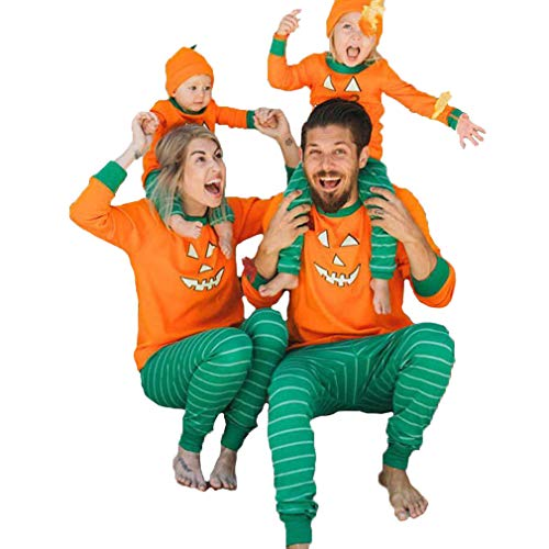 Family Matching Hallowween Pajamas Long Sleeve Pumpkin Print T-Shirt Top Striped Pants Xmas Pajamas PJs Sleepwear Set (Mom, L) -