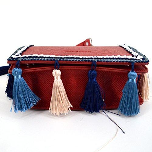 Purse Red Crossbody Goodbag Girl Women Leather Tote Handbag Boutique Chain Bag Shoulder Ethnic Fashion Tassel Faux qUOqxS6Zw