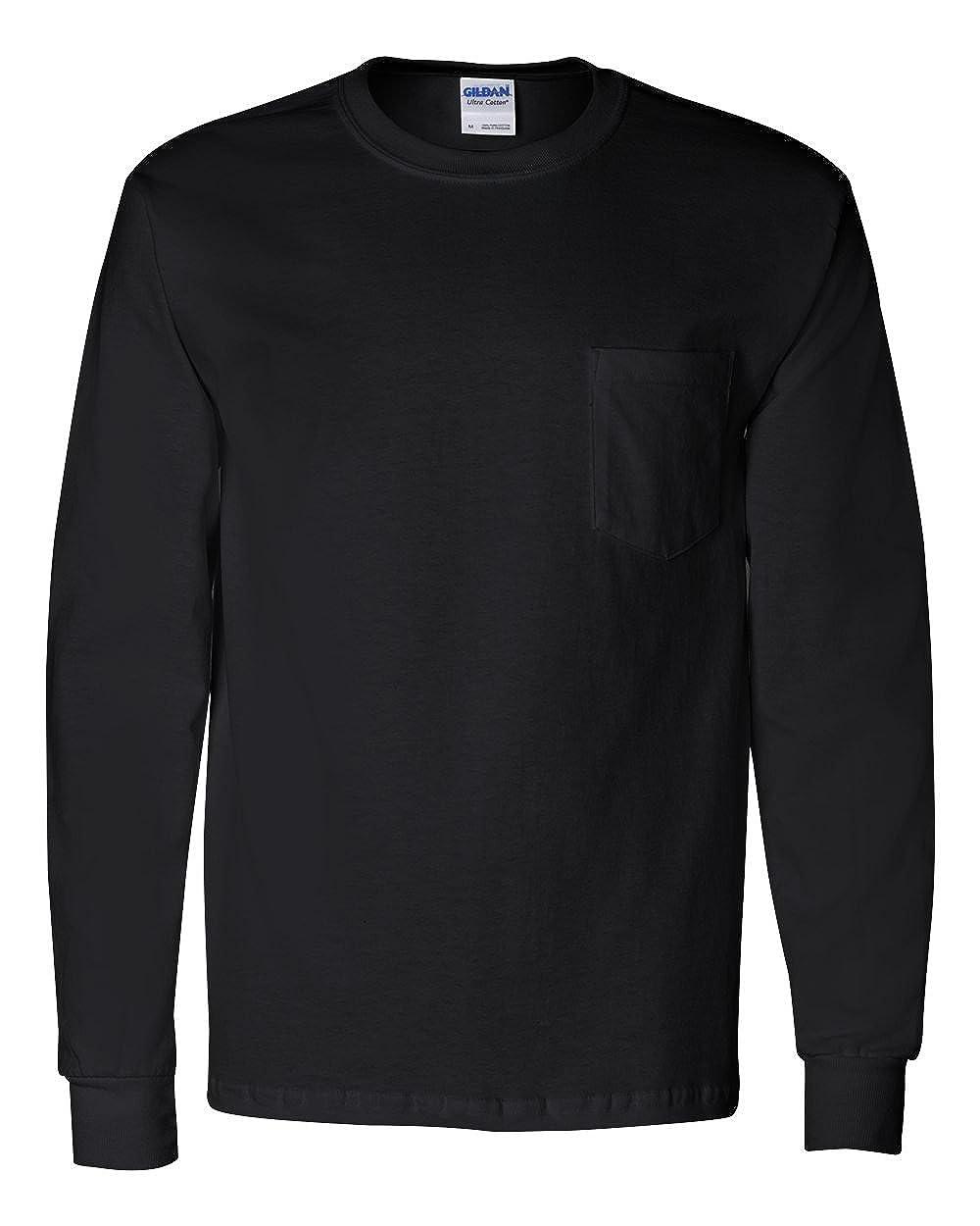 Gildan Adult Ultra CottonTM Long-Sleeve T-Shirt with Pocket 2410-Black