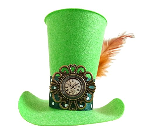 Steampunk Mad Hatter Green Mini Top Hat Headband Alice in Wonderland Decoration Tea Party Birthday - Feather Christmas Top Hat