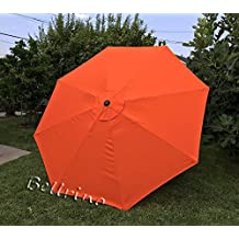 BELLRINO DECOR Replacement STRONG AND THICK Umbrella Canopy for 9ft 8 Ribs (Canopy Only) (TANGO ORANGE)
