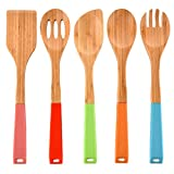 VCCUCINE Modern Durable and Long Lasting Silicone Handle Kitchen Cooking Utensils Bamboo Spoon Spatula, 5 Set of Bamboo Kitchen Tools