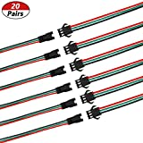 mxuteuk 20 Pairs 22 AWG JST SM Plug 3 Pin Male to
