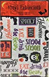 Halloween Holiday Phrases Flannel Backed Vinyl Tablecloth: Fun Cute Sayings with Icon Pictures of Skulls and Webs on White (52'' x 90'' Inch)