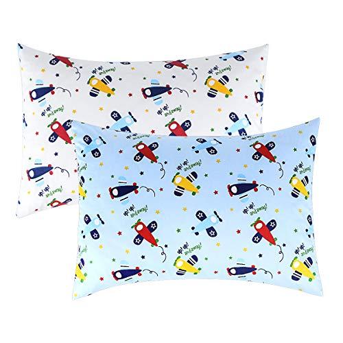 IBraFashion Kids Pillowcases Standard Size for Boys 100% Cotton Soft Cute Blue Airplane Printings 2 Packs