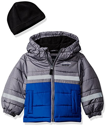 London Fog Boys' Little Color Blocked Puffer Jacket Coat with Hat, Real Blue, 4