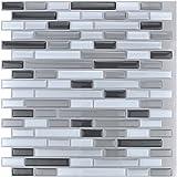"Art3d 12"" X 12"" Vinyl Peel and Stick Kitchen Back Splash Wall Sticker, Gray and White Brick"