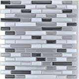 "backsplash for kitchen  10-Piece Stick on Backsplash Tile for Kitchen/Bathroom, 12"" x 12"" Gray-White Tile"
