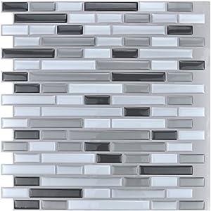 art3d 12 x 12 peel and stick tile kitchen backsplash sticker gray