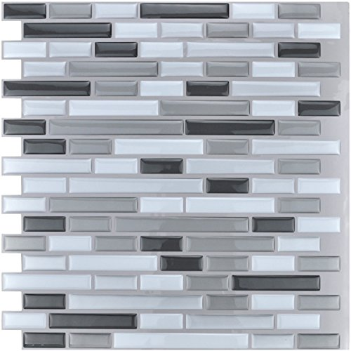 "10-Piece Stick on Backsplash Tile for Kitchen/Bathroom, 12"" x 12"" Gray-White Tile"