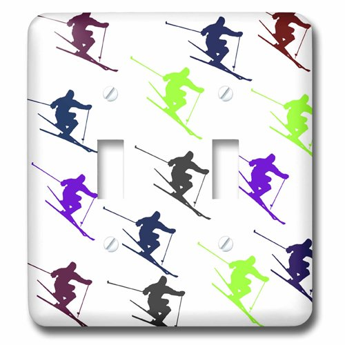 3dRose lsp/_204412/_2 Print of Cartoon Skiers In Different Colors Repeat Double Toggle Switch