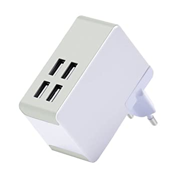 Top-Longer Cargador USB 40W/8A Cargador Movil con Adaptador EU UK US Universal 4 Puertos