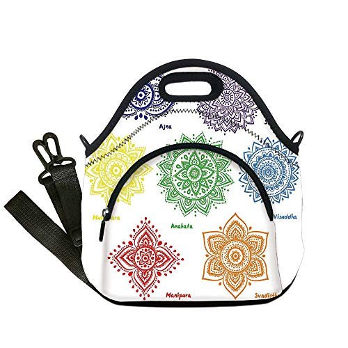 Insulated Lunch Bag,Neoprene Lunch Tote Bags,Chakra Decor,Collection of Symbols in Different Colors with Ornate Round Mandala Asian Print,Multi,for Adults and children