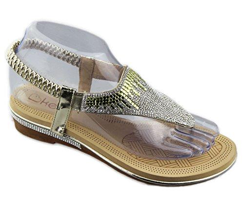 Slipper Sommerhochzeitszehen weicher Frauen Sandalen der Flache Gold Diamante Damen Pfosten q186SU