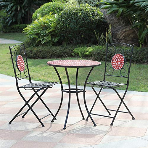 (Winsome House Red Mosaic Bistro Set)