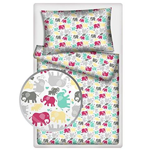 Kinderbettwäsche Elefanten 2-tlg. 100% Baumwolle 40x60 + 100x135 cm mit Reißverschluss (pink)