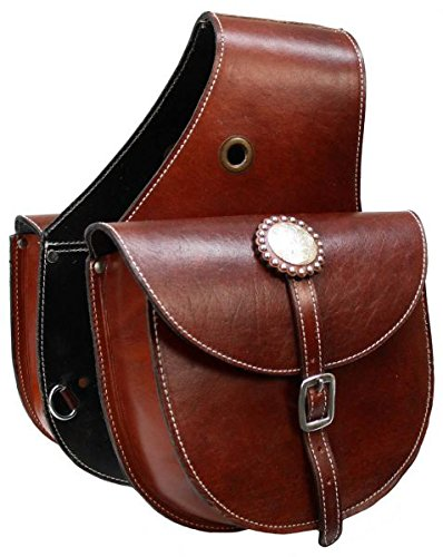 - Showman Top Grain Leather Saddle Bag with Single Buckle Closure (Medium)
