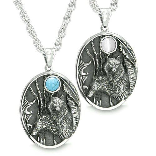 Mother and Son Wolf Family Wild Woods Moon White Simulated Cats Eye Simulated Turquoise Pendant Necklaces ()
