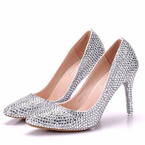 SL-Wedding Zapatos de Boda Novia/Apliques Zapatos de boda de encaje/Zapatos de mujer de la boda Zapatos de bodaCristal con punta fina Silver Rhinestone
