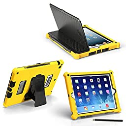 iPad Air 1 Slim Tough Case G5 - Rugged Protection with Built-in Hard Cover and Stylus (Yellow)