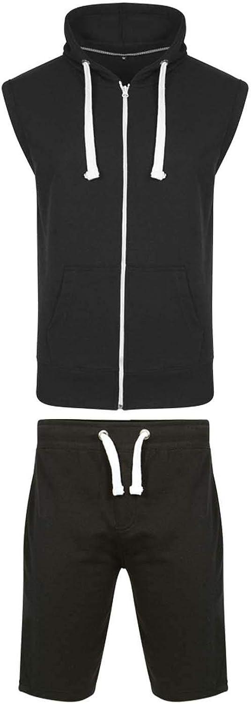 Pantalon court Haut /à capuche 2 pi/èces Gilet de sport am/éricain en polaire pour homme Veste sans manches avec fermeture /éclair Poches lat/érales Tailles S /à 5XL
