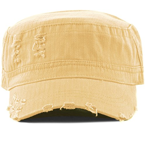 THE HAT DEPOT Womens Washed Cotton Herringbone Cadet Military Cap (Tan)