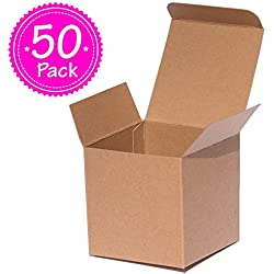Brown Kraft Gift Boxes 3x3x3 inch ANGELCRAFT 50-Pack