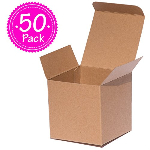 ANGELCRAFT Brown Kraft Gift Box 3x3x3 inch Cupcake Box, Wedding Party Favor, Bakery Box, Holiday Gift Box, Party Boxes 50-Pack by AngelCraft (Image #7)