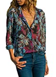 Astylish Women's Long Sleeve Summer Spring Floral Printed V Neck Button Down Shirt Tops and Blouses X-Large 16 18 Blue