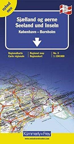 Dänemark Regionalkarte 3. 1:190 000. Seeland und Inseln, Kopenhagen, Bornholm. Mit Index (Kümmerly+Frey Reisekarten)