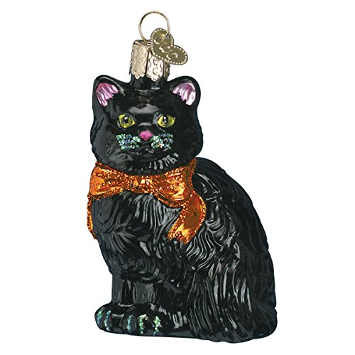 Old World Christmas Glass Blown Ornament with S-Hook and Gift Box, Halloween Collection (Halloween Kitty) -