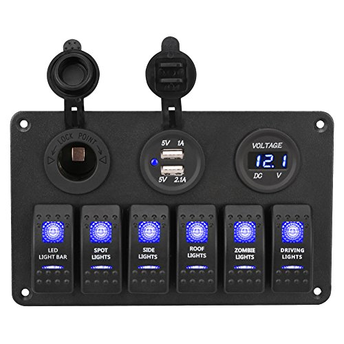 WATERWICH 6 Gang Marine Toggle Rocker Switch Panel Waterproof with 12V-24V LED Voltmeter 3.1A Dual USB Charger Cigarette Lighter Socket For RV Car Boat Vehicle Truck Ship SUV (6 Gang Blue) ()