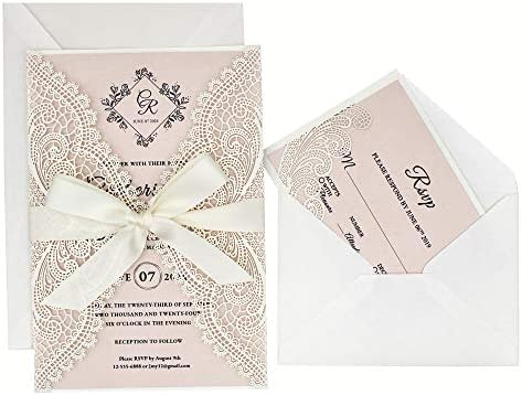 1 Set White Lace Laser Cut Wedding Invitations With Rsvp Cards Blush Pink Shimmer Invitation Cards For Wedding Bridal Shower Birthday Party Picky