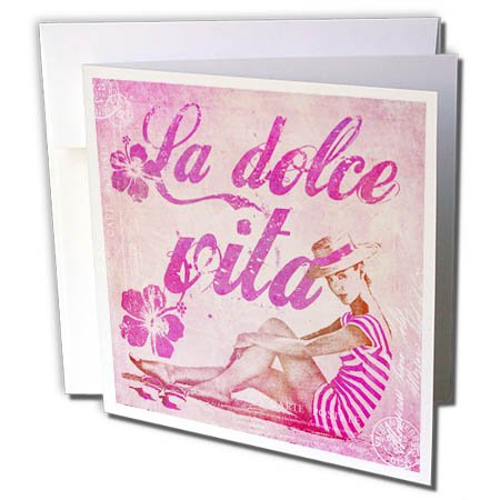 Art Illustration - Retro Woman In Swimsuit And Text La Dolce Vita In Pink - 1 Greeting Card with envelope (gc_268463_5) ()
