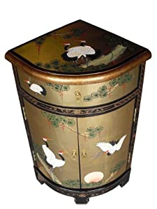 Oriental Chinese Furniture - Gold Leaf Corner Cabinet with Cranes ...