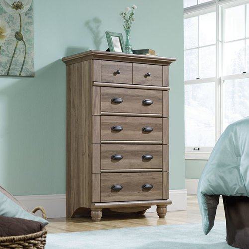Sauder Harbor View 5-Drawer Chest Salt Oak with Five Drawers from Sauder