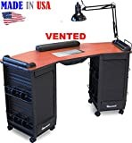393-V Manicure Nail Table Vented Double Lockable Cabinets Cherry Lam.Top by Dina Meri