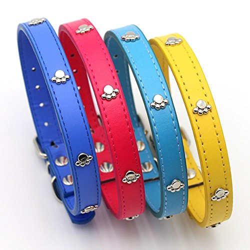 Crinkle Buckle - wintefei Faux Leather Paw Design Adjustable Buckle Puppy Dog Neck Collar Pet Supplies - Blue