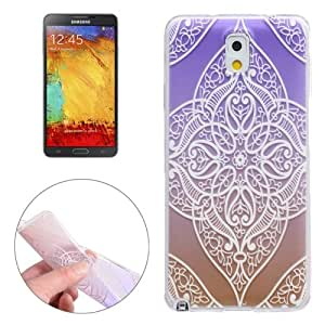 White Carving Pattern Ultra-Thin Transparent TPU Protective Case Cover Carcasa Para Samsung Galaxy Note 3/N900