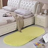 Rug WAN SAN QIAN Bedside Blanket Oval Carpet Simple Style Lambskin Solid Color Bedroom Carpet (Color : B, Size : 60x160cm)