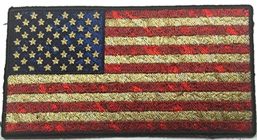 Iron On Distressed American Flag Embroidered Patch - By Patc