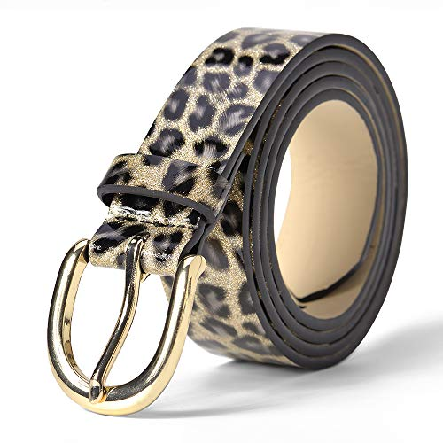 Leopard Print Women's Belt PVC Smooth Summer Ladies Cheetah Waistband for jeans/Casual pants Accessories -11/8''