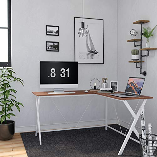 VASAGLE L-Shaped Computer Desk, Corner Office Writing Desk, Gaming Workstation, Sturdy Metal Frame, Easy Assembly, Tools and Instructions Included 57.1''x 51.1'' x 29.9'' ULWD70WH by VASAGLE (Image #3)